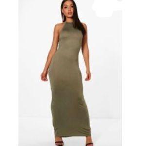 NWT Boohoo Bella Halter Bodycon Maxi Dress 6